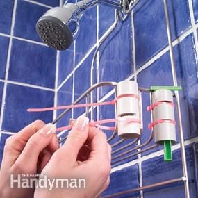 Who else is tired of your shaver falling into the tub during showers? Check out this clever and quick DIY to keep those razors in place using PVC pipe and plastic ties, found on Family Handyman.