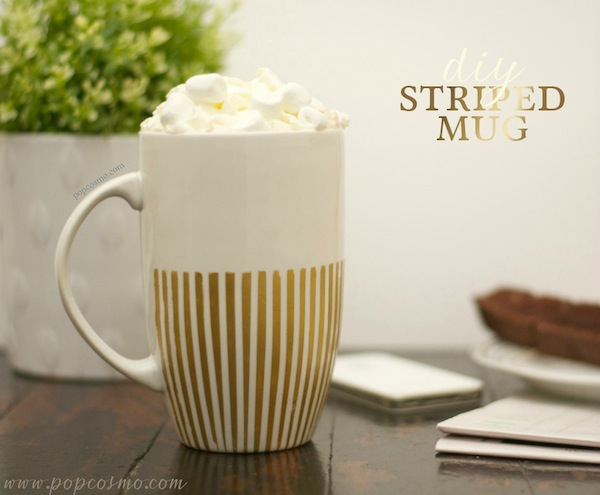 A mug DIY for the person that thinks they can't create a pretty DIY mug. This is very simple and pretty, via Popcosmo.