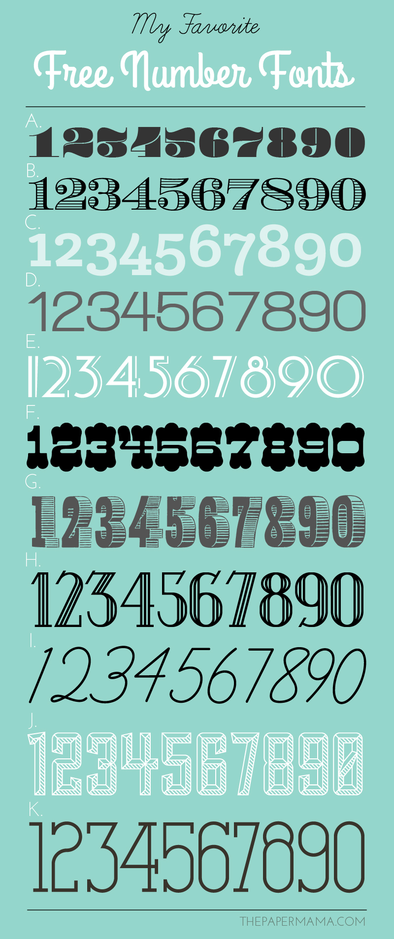 my favorite free number fonts