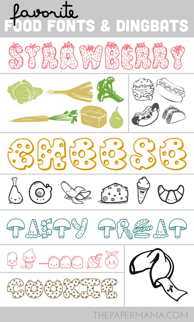 My Favorite Food Fonts and Dingbats // thepapermama.com