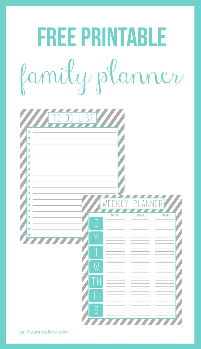 Organize your family time with these free printables! Found on I Heart Naptime.
