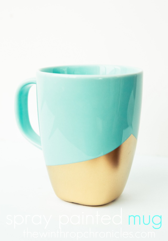 "This ""gold-plated"" spray painted mug is lovely, via The Winthrop Chronicles."