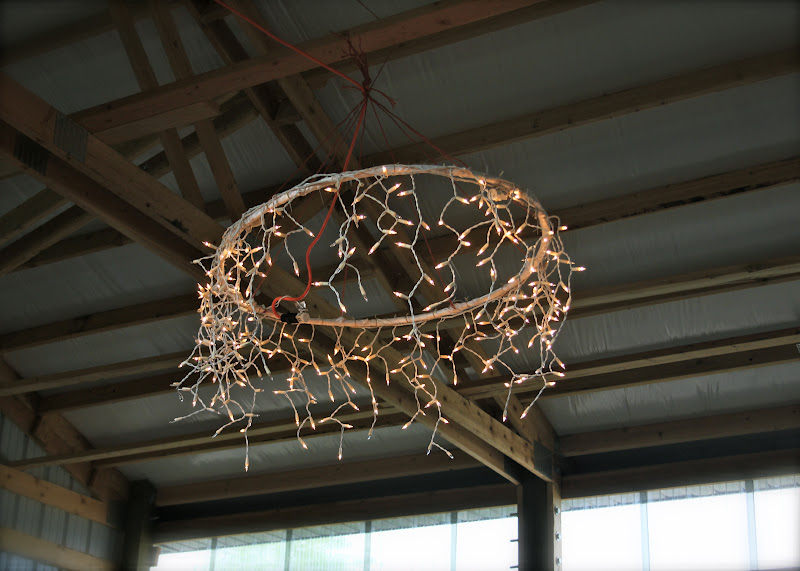 Hula hoop chandelier DIY, from Sunlight and Sequins.