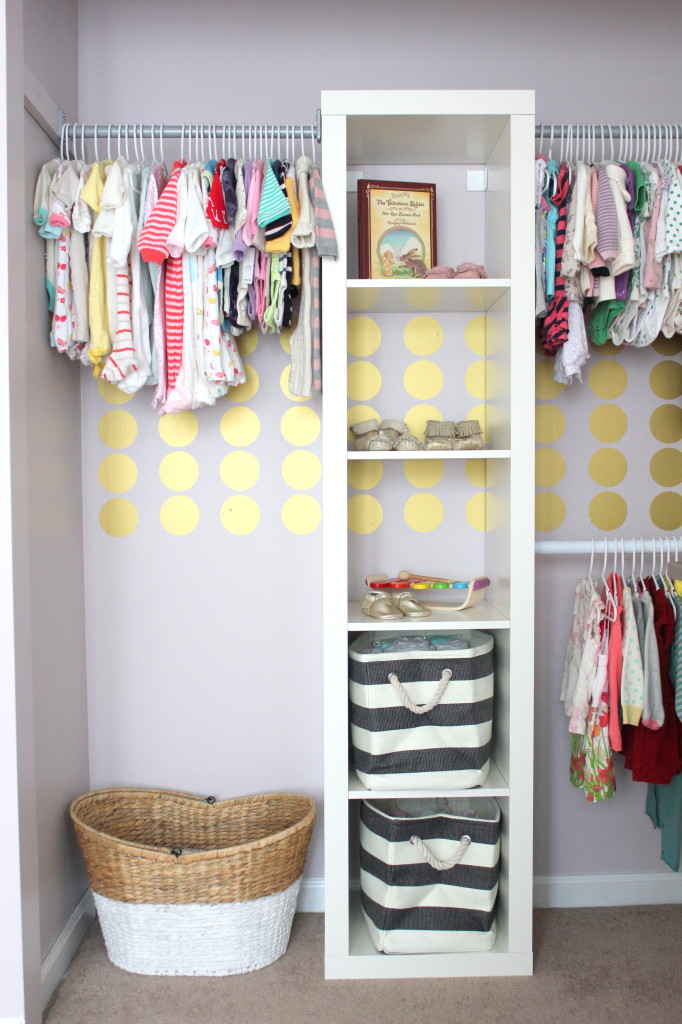 This open closet set up is lovely and perfect for a small space nursery, from Project Nursery.