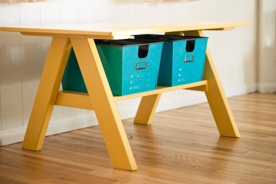 This cute kids table is perfect for kids crafting time, plus it has a little shelf underneath for storage. Check out how they made this table for $30 on Strawberry Chic.