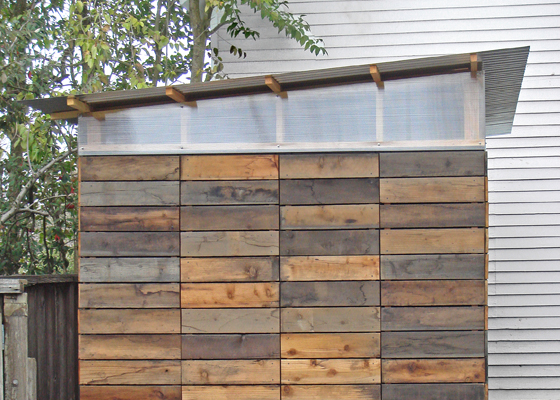 Create this small tool shed using reclaimed wood, featured on Houzz created my Joseph Sandy.