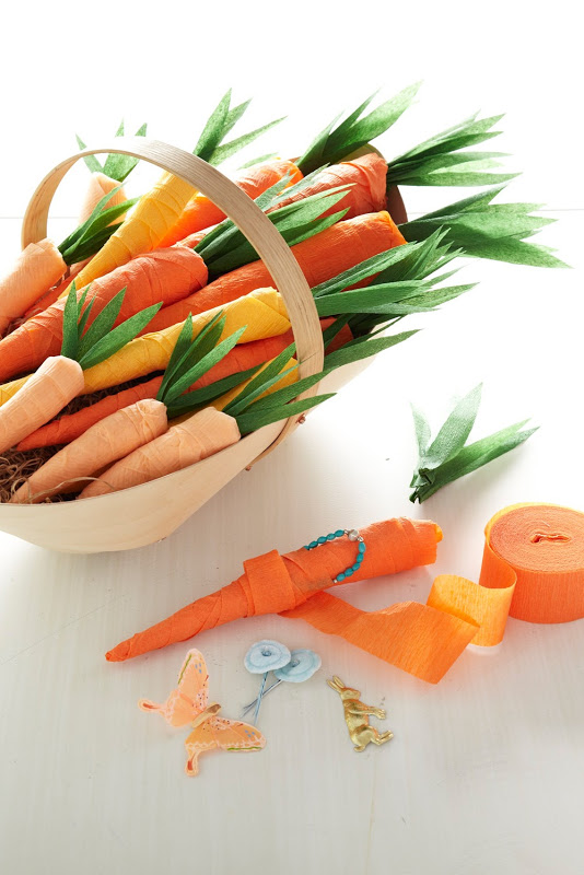 http://thecraftsdept.marthastewart.com/2011/04/crepe-paper-carrots.html