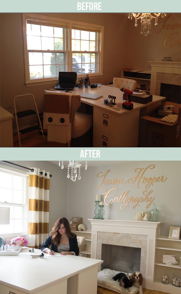I love everything about this office makeover, on Oh, I Design.
