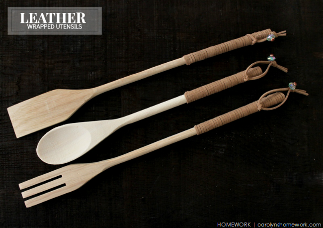 These hanging leather wrapped utensils are a great gift for the chef in your life. Found on Carolyn's Homework.