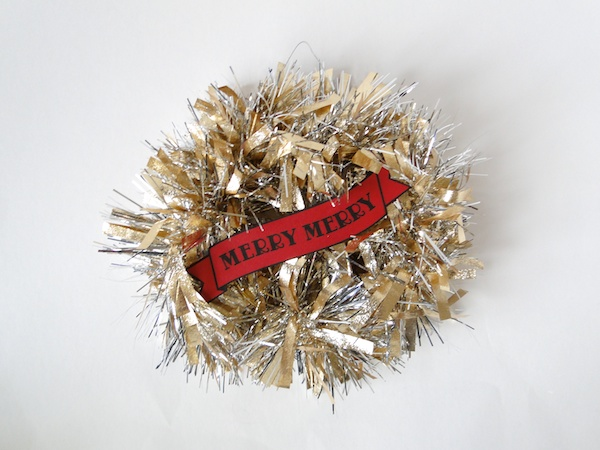 This mini tinsel wreath is so tiny and I love it, on Strut.