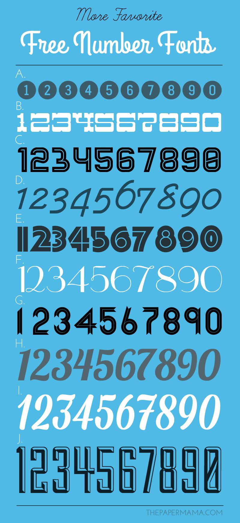 more favorite free number fonts