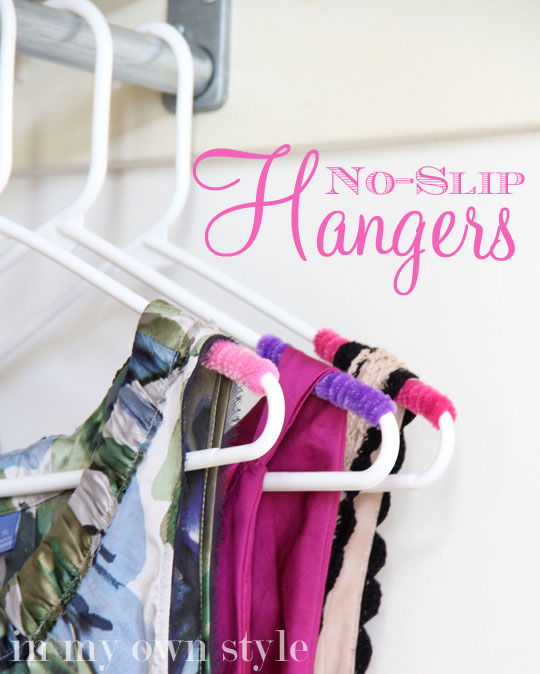 Everyone has a couple of clothing items that REFUSE to stay on a hanger. Create some no slip hangers with some pipe cleaners! It's colorful and low cost. Found on In My Own Style.