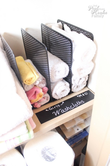 Use file organizers to sort the towels in your bathroom closet. Found on The Real Thing With The Coake Family.