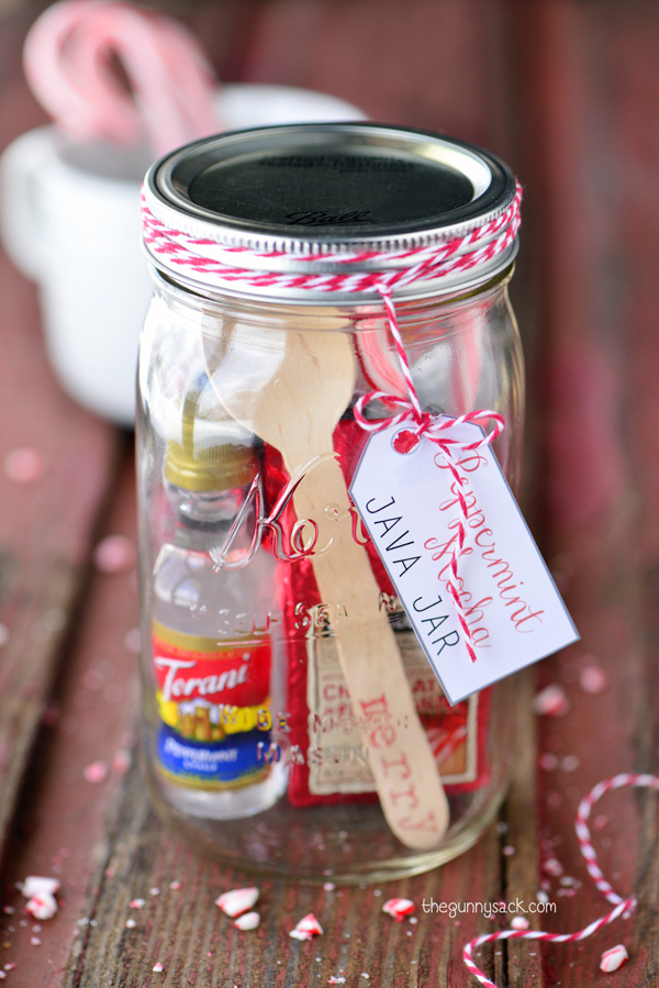 For the coffee person, create this Peppermint Mocha Java Jar, from The Gunny Sack.