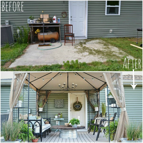 Update thrifted items to create an amazing outdoor space, from Liz Marie Blog.