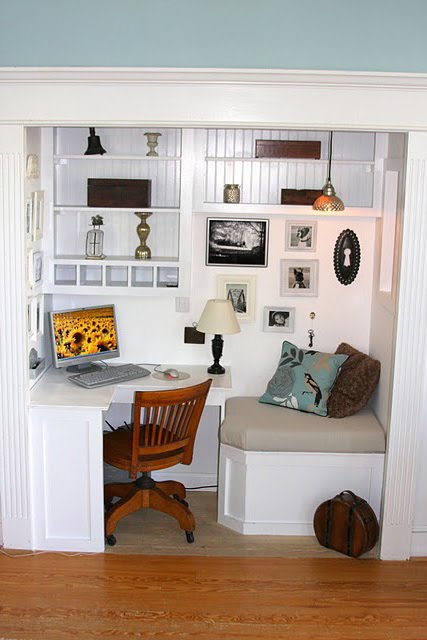 I'm really inspired by this small closet space turned office, it has seating! Found on Remodelaholic