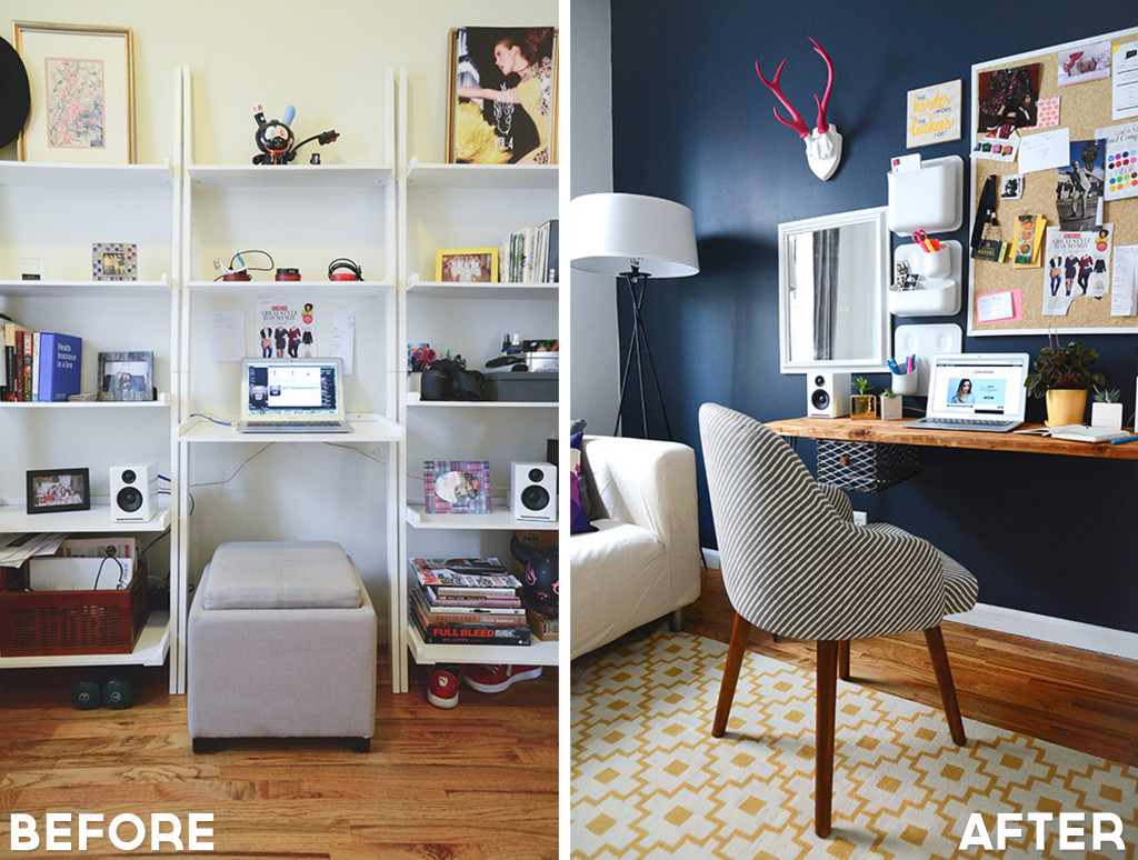 The change in the paint color really made a difference in this makeover, from Style Girlfriend.