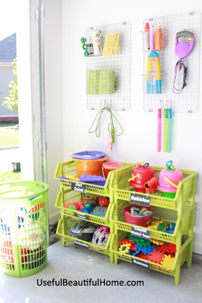 If you have kiddos, you probably have a mess of outdoor toys. I love this toy organizing solution, from Useful Beautiful Home for Organizing Junkie.