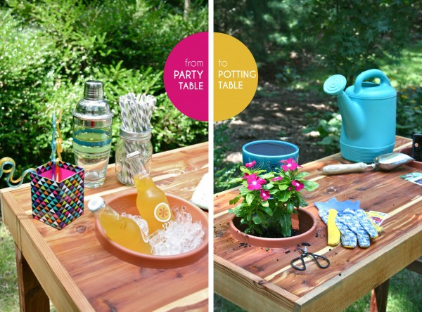 I love this dual purpose potting table/party table, from Dream Green DIY.