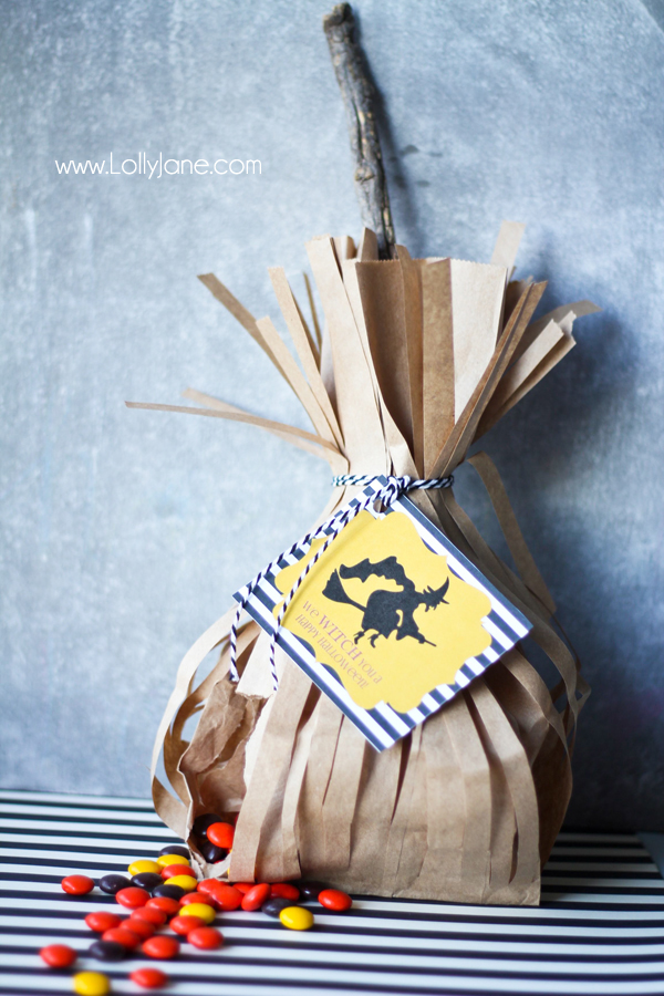 These Witches Broomsticks are the best. I think they are so cute and they come with a printable, from Lolly Jane.