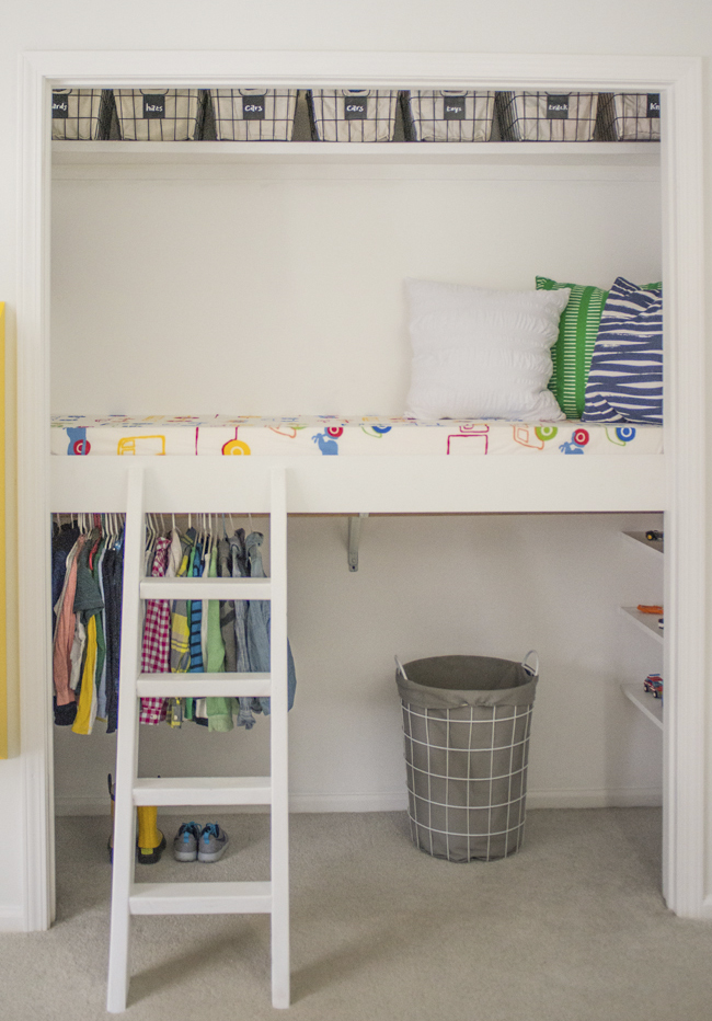 If you're kids room is tiny this may be a good option for you. A little bed loft built into a closet. Find the DIY on Bigger Than the Three of Us.