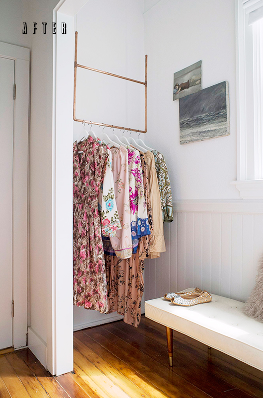 Do you live in a house that lacks actual closet space? Maybe you can transform a little nook into clothing storage with some copper pipe?! Check out this lovely makeover of SF Girl By Bay.