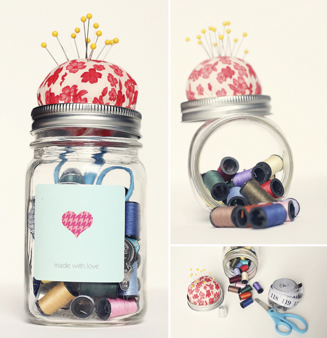 This Sewing Kit in a Jar is so handy to have around the house and would make a great gift, on The Paper Mama.