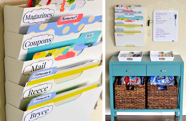 Keep your mail, coupons, and kids homework organized and easy to find with folder rack. Found on Mom on Timeout.