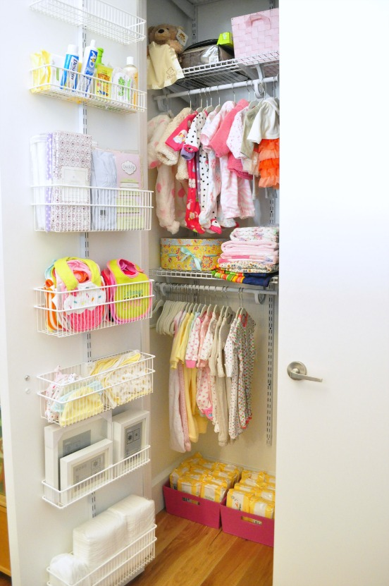 Use all the space in your closet with hanging shelves on the back of the doors, from The Avid Appetite.