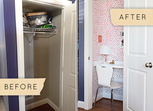 Another amazing closet turned tiny office, from Design Sponge.
