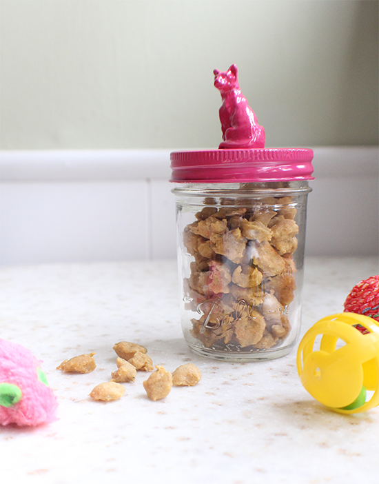 Create this kitty treat jar to hold your homemade cat treats! Recipe and DIY on Cupcake Rehab.