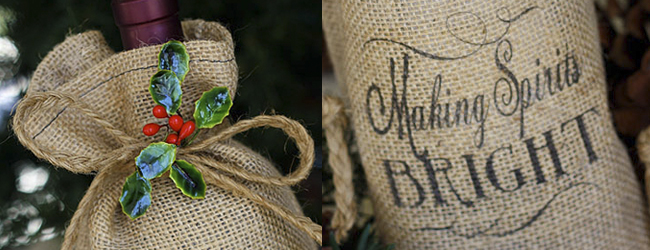 Day 34 of 50 DIY Days of Christmas: Burlap Wine Bottle Bags // hp create