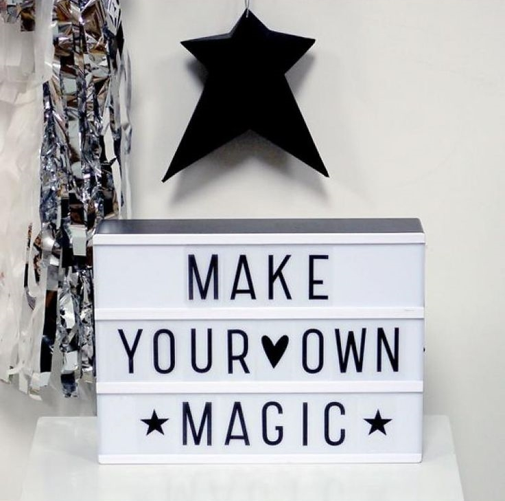 If you're not up for a big lighting project you can always purchase a DIY light. This light box is always a DIY. Change out the words daily if you'd like. Comes in different sizes. Found on Design Life Kids.