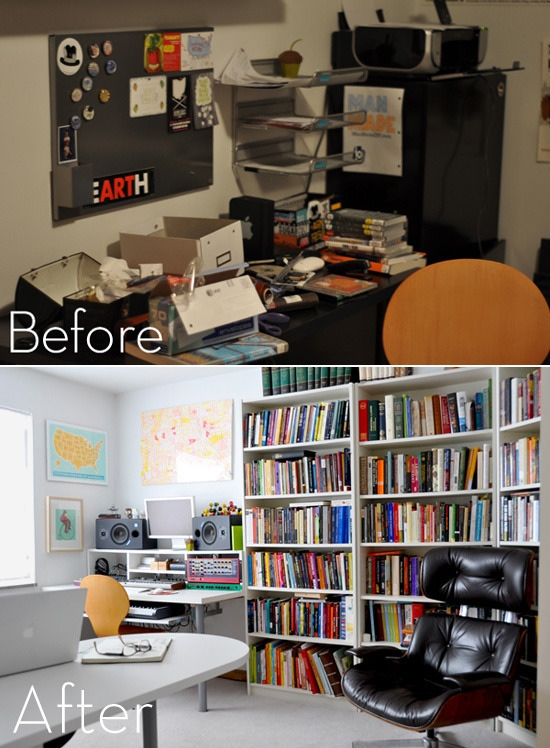 This total office makeover is pretty darn amazing, from Curbly.