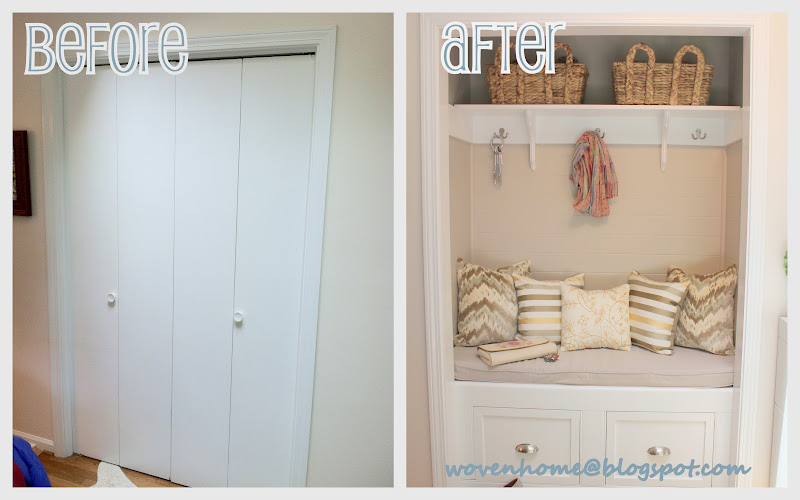 Give that boring entryway closet a makeover, from Woven Home.