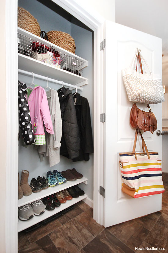 All this warm weather means you probably haven't paid much attention to that coat closet for a while. This is the perfect time to get the closet organized and ready for Fall. This blogger added shelving and baskets to really organize everything. Found on How To Nest For Less.