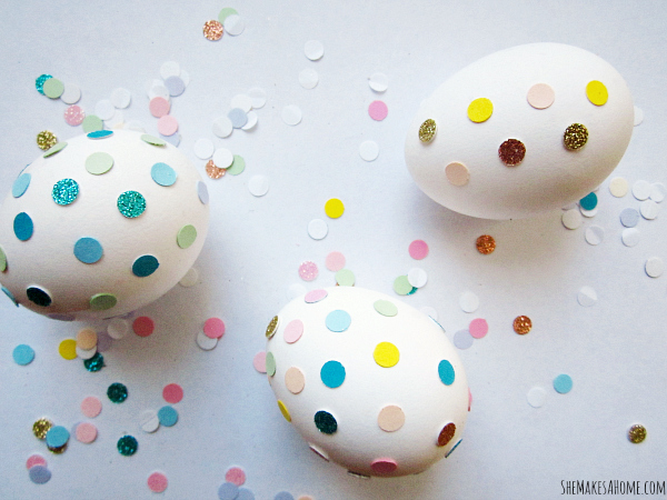 Confetti Covered Easter Eggs from She Makes a Home.