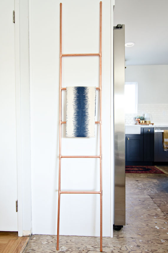 This copper pipe ladder would look lovely holding towels in the bathroom or kitchen, from Brittany Makes.