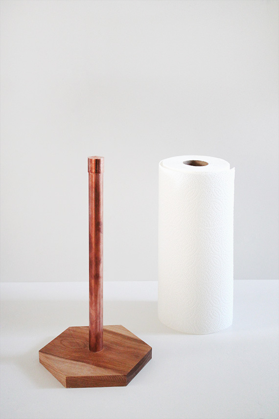 Make this simple paper towel holder to sit on your new copper counter top, from Almost Makes Perfect.