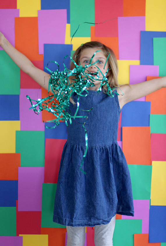 What do you need for this photobooth? Tape and a variety of colorful paper, from Julep.