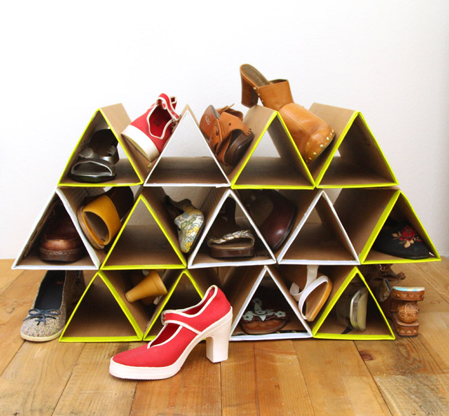 Organize your shoes with this clever cardboard triangle shoe holder! Find out how to make it on A Piece Of Rainbow.