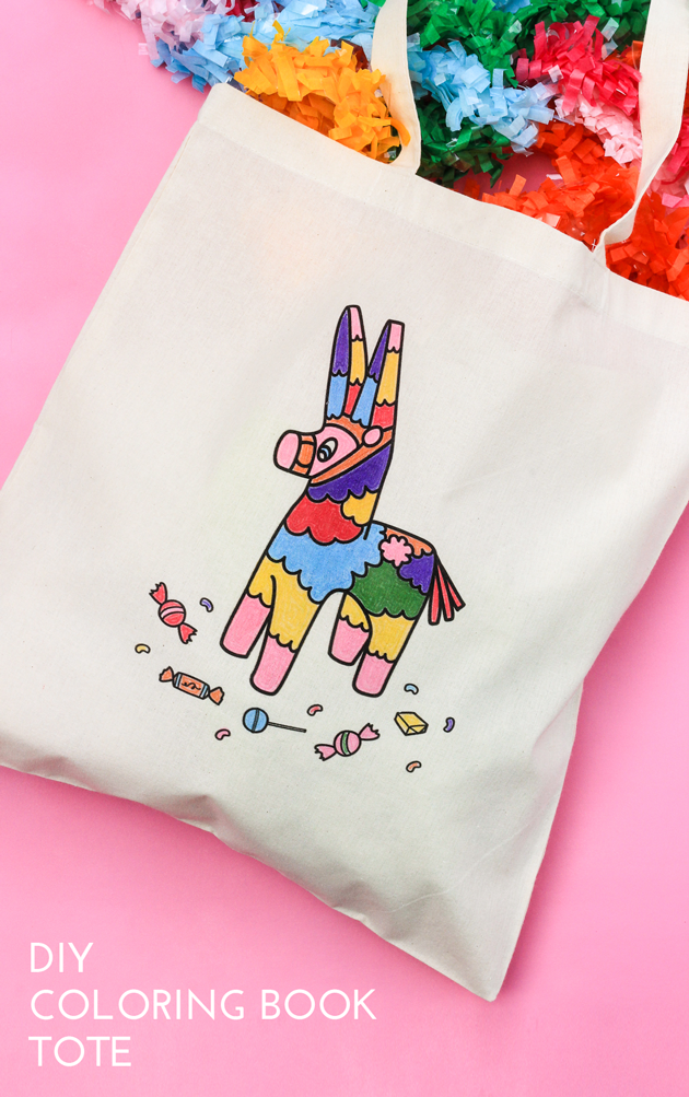 DIY Coloring Book Tote with Free Printable. Illustration by, The Paper Mama.
