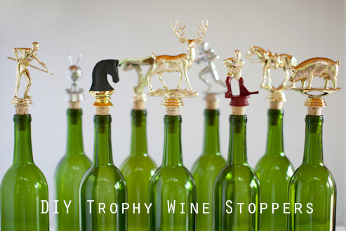 Here's a great gift for the sport-loving wine drinker: DIY Trophy Wine Stoppers, on Inspired by Heather.
