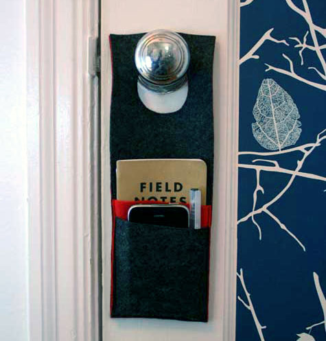 If you need a little more help to remember the important things on the way out the door, you can make this Door Organizer, from Design Sponge.