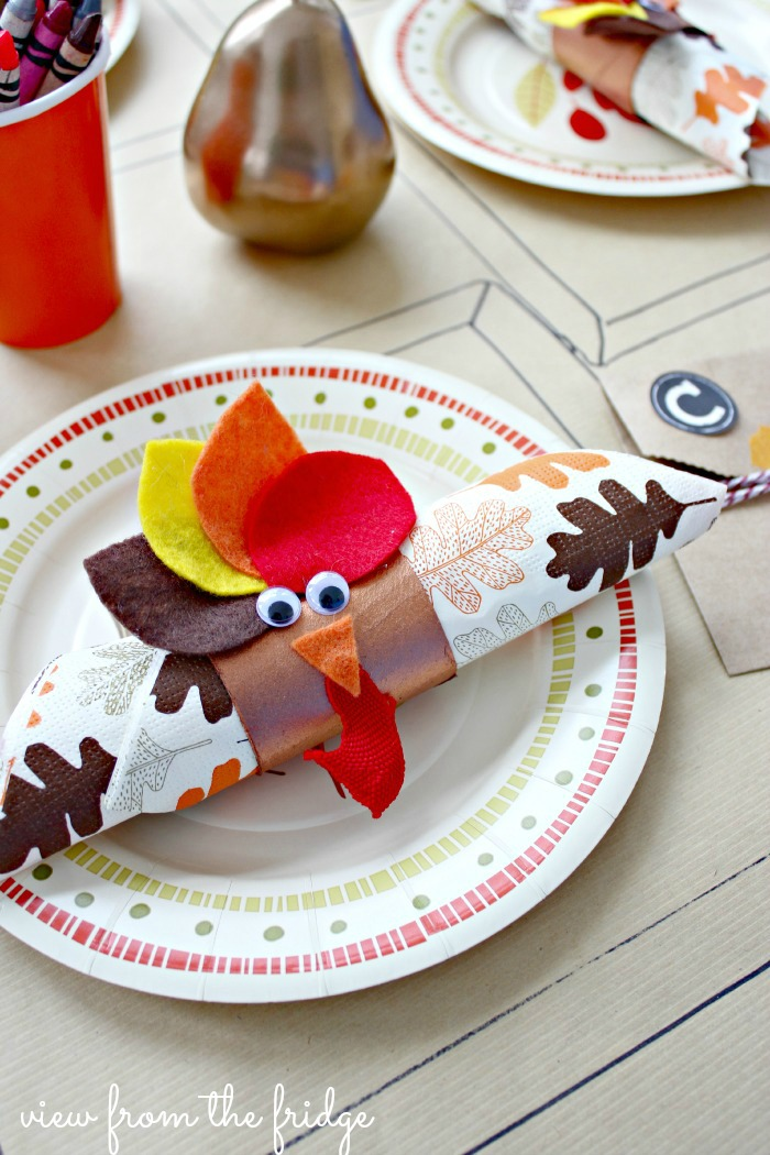Find out how to make these cute turkey napkin rings for your kid's table. Found on View From The Fridge.