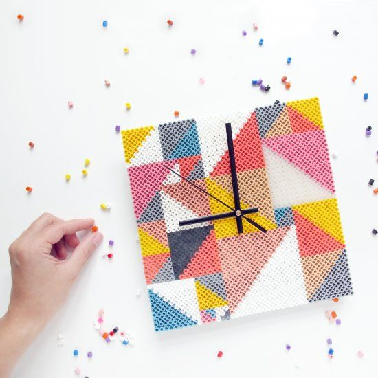 This clock is made with Perler beads! Could be a great project to do with the kiddo. Project found on FRK Hansen.