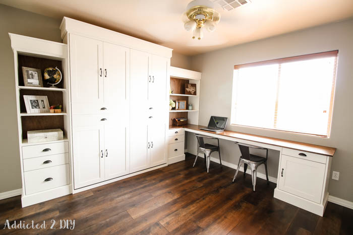 Do you want to have guests stay with you, but you don't really have anywhere for them to sleep? Consider installing a Murphy bed! The room can be an office by day, and a bedroom at night. Great DIY found on Addicted 2 DIY.