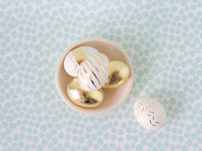 Gold Leaf Easter Eggs from Lovely Indeed for Momtastic.