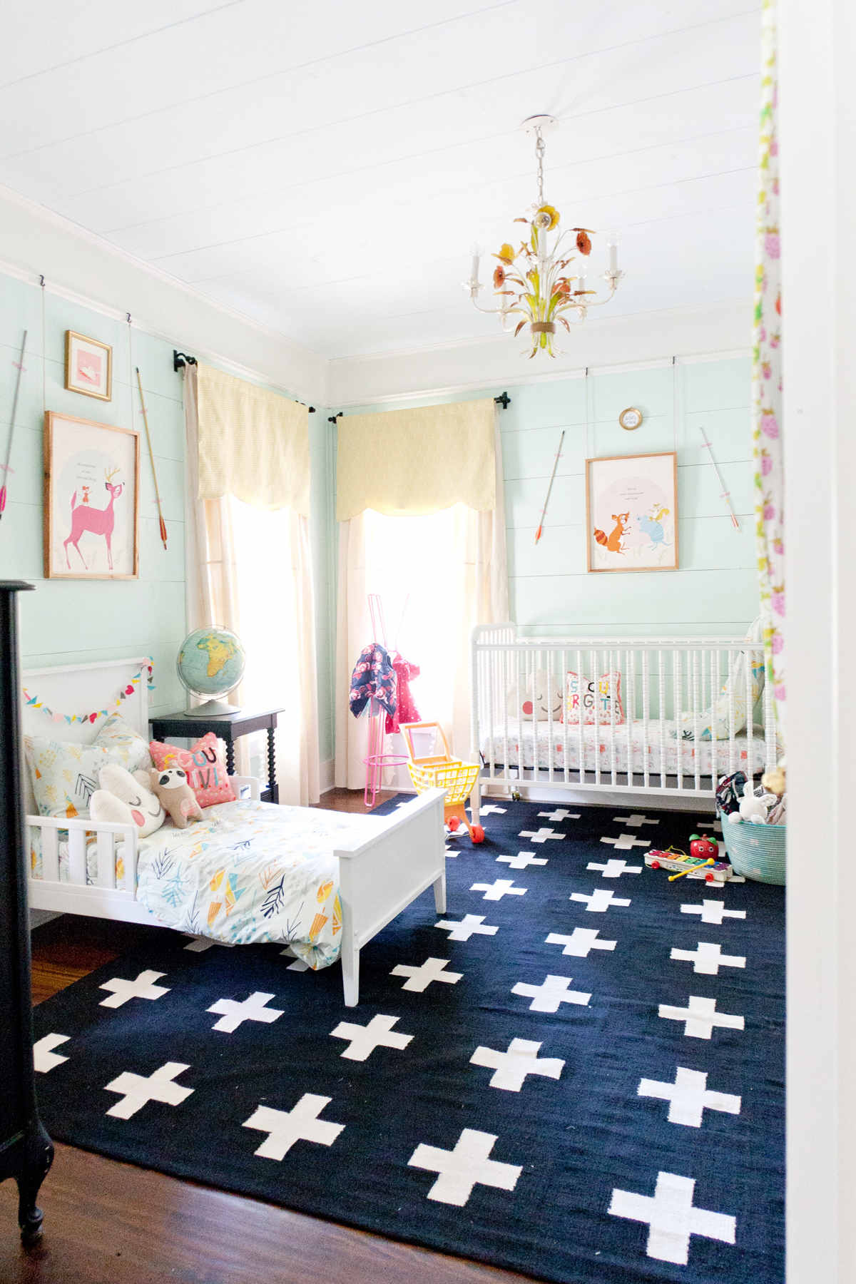 I love almost anything Joni does, but this small shared baby and kid room is the best, from Lay Baby Lay.