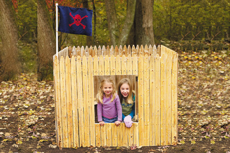 Even though I LOVE cute playhouses, they can be a bit spendy. Skip building a mini house and use fence sections to create a little fort! This fun DIY was found on This Old House.